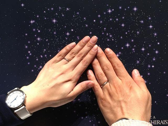 仕上がりホヤホヤの指輪をつけてみました。結婚式まで保管です。