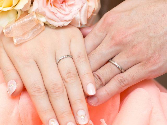 結婚式当日の指輪の写真です