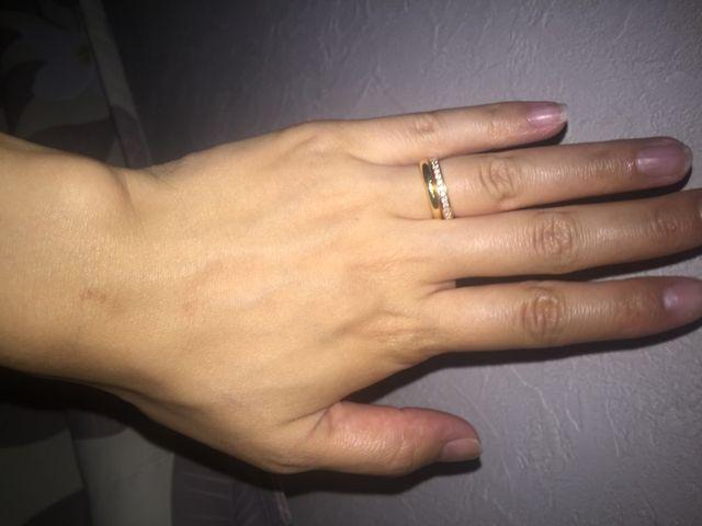結婚指輪と二連付けピンクゴールドとゴールドですが、合いました