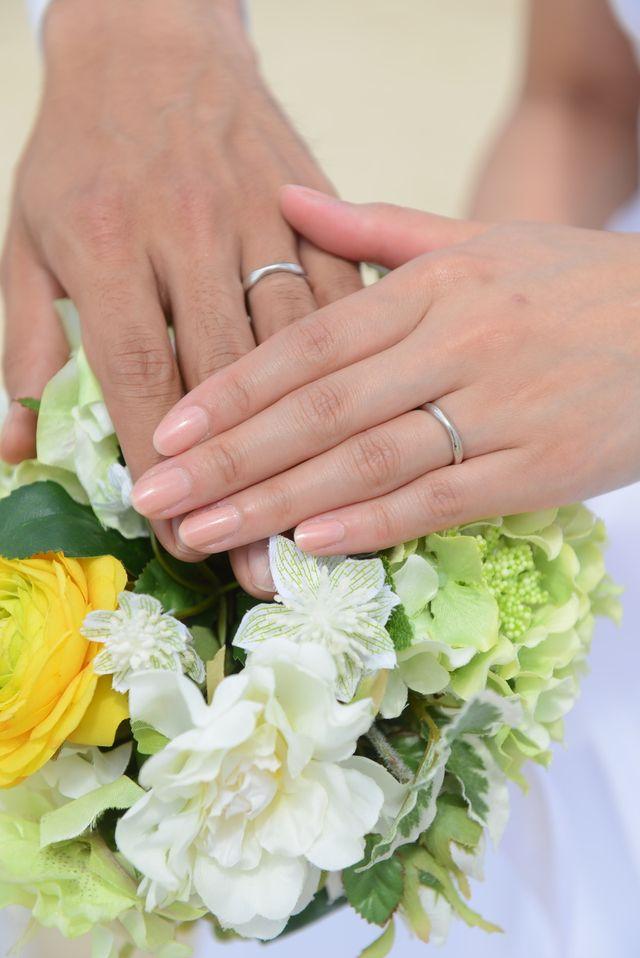 結婚写真を撮った時の指輪の写真です。