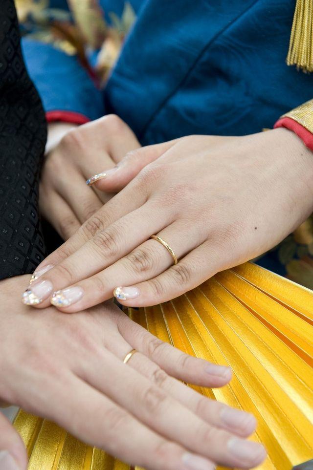 披露宴当日。袴、色打掛を着て。