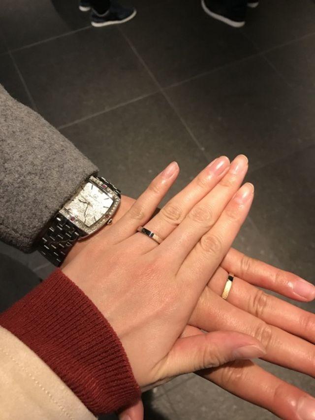 指輪を受け取った直後の写真です。
