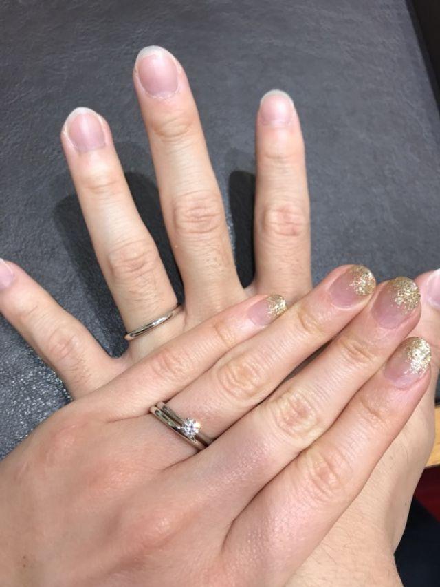 結婚指輪試着。つけ心地良かったです。
