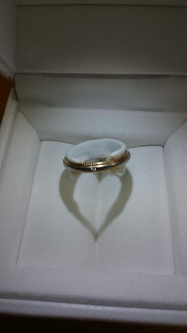 結婚指輪 プラチナにピンクゴールドのハートの縁取り、ダイヤ