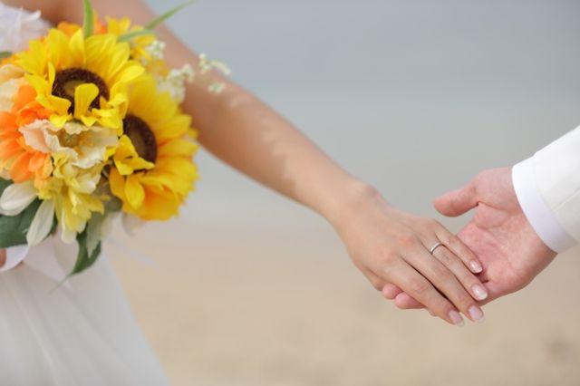 新婚旅行でのウェディングフォトでの写真です。