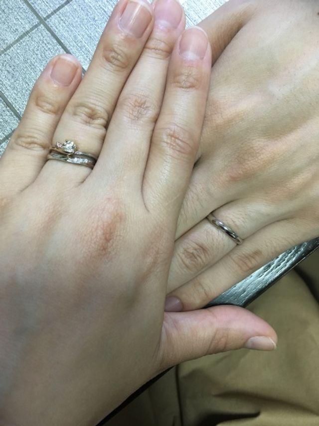 婚約指輪と結婚指輪重ね付け