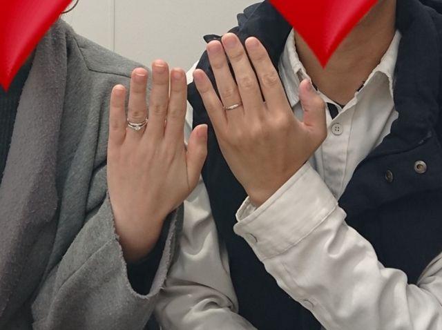 指輪を取りに行った際、スタッフの方が撮影してくれました