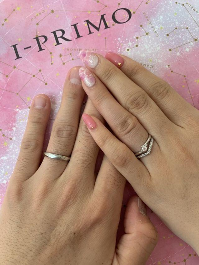 結婚指輪と婚約指輪を一緒につけました