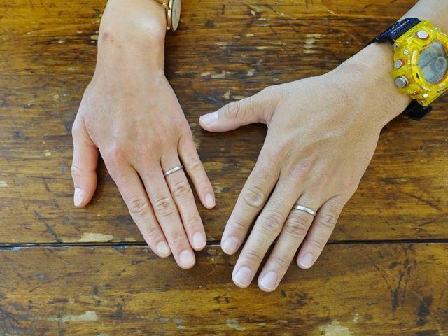 シンプルなクラシックラインの結婚指輪です。