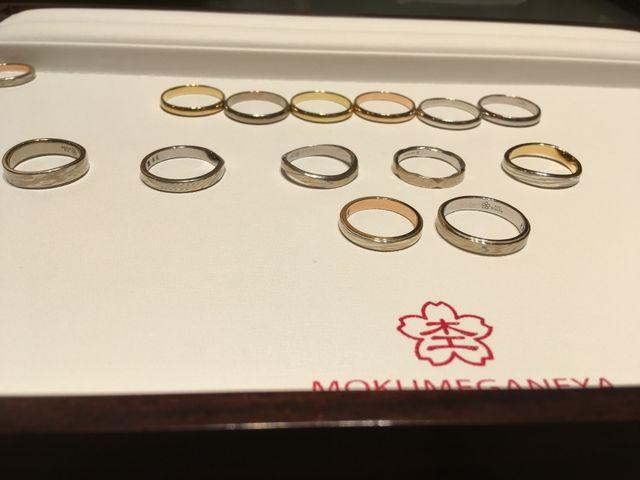 木目柄の指輪に混ぜ込める色の見本と、完成リングの比較です。