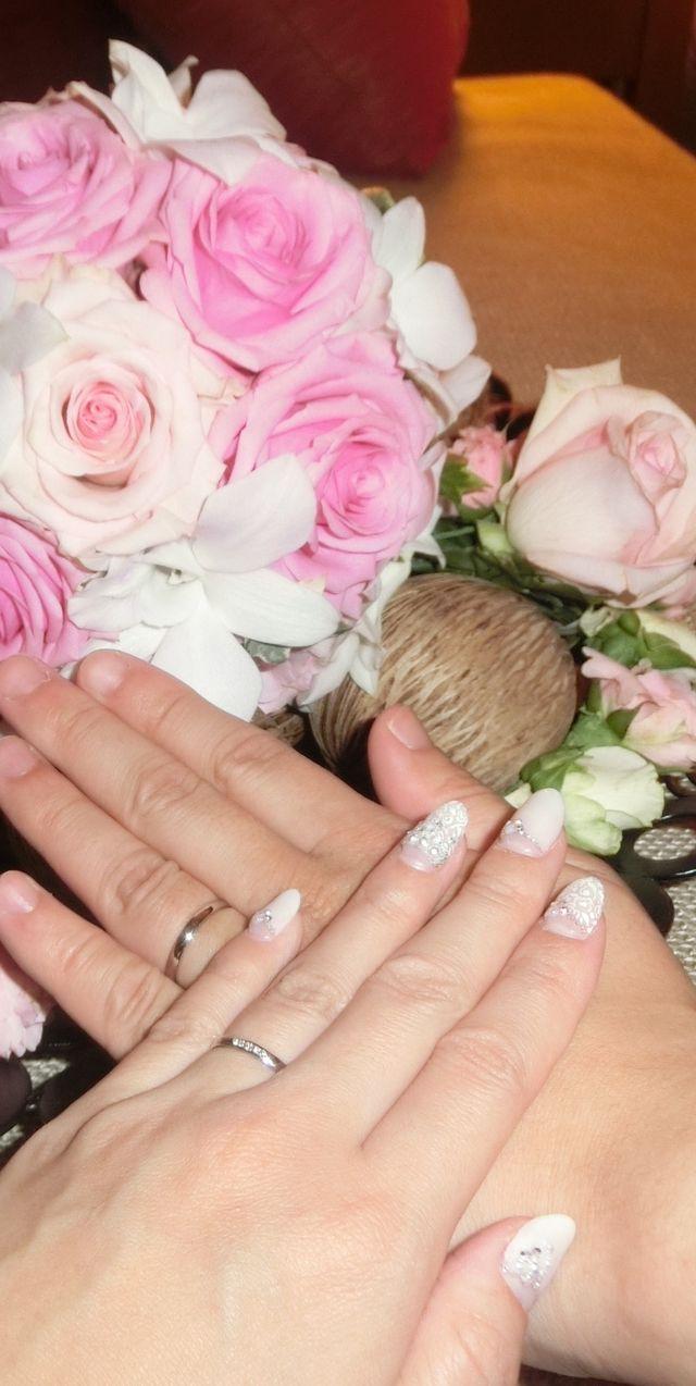 結婚式の後。主人とペアのリングです。