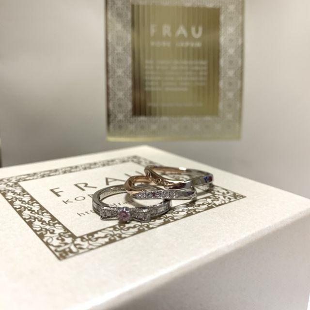 オーダーメイドの結婚指輪とピンクダイヤのリボンの婚約指輪です