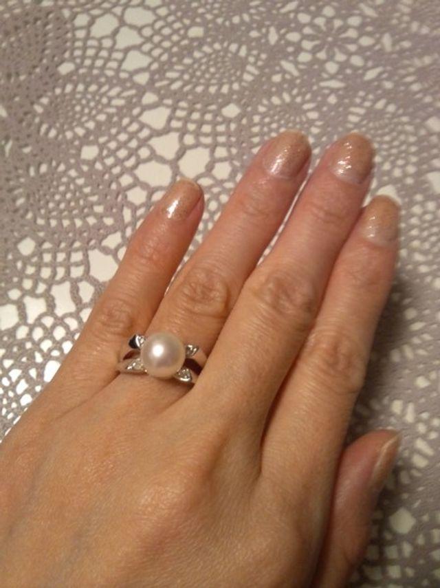 真珠とダイヤの指輪です。