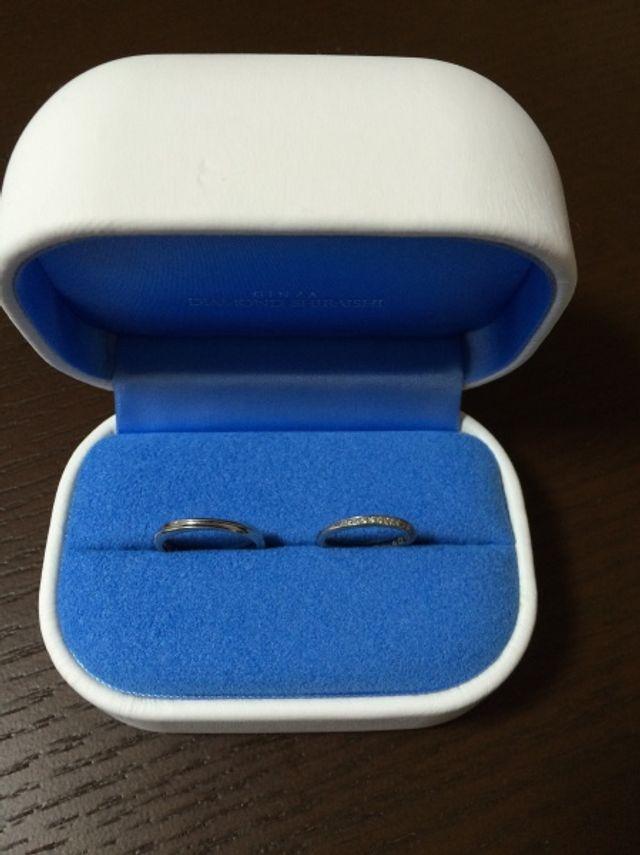 購入した指輪です。左が男性用、右が女性用。