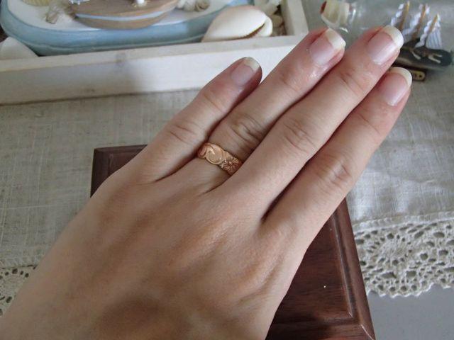 ピンクゴールドの結婚指輪です。