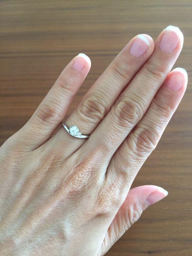 指輪をはめた手。