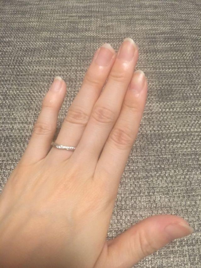 結婚指輪です。銀座ダイアモンドシライシさんで購入しました。