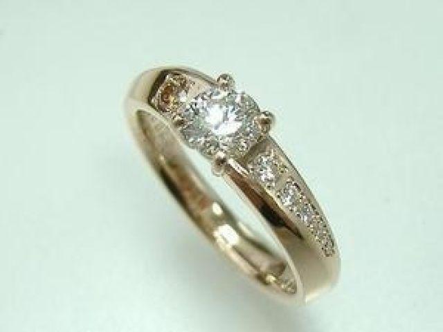 k18PG  0、3ctダイヤモンド、メレ:ブラウンダイヤ