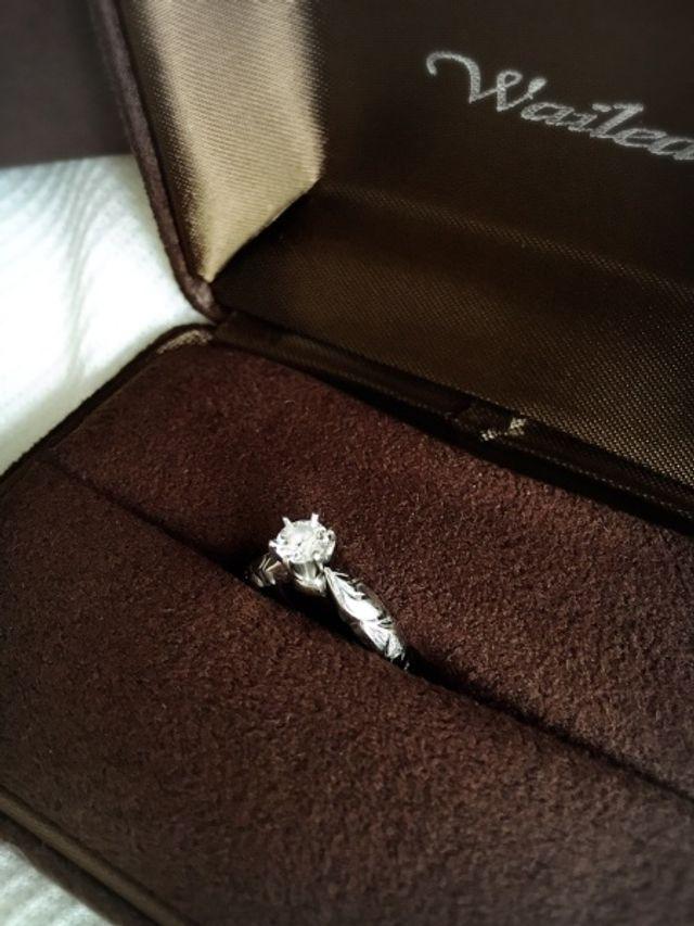 ワイレアのダイアモンドのついた婚約指輪です。