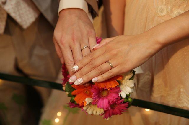 マット加工のある結婚指輪