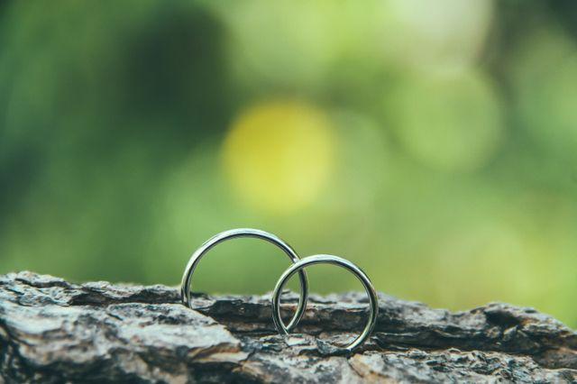 挙式前にカメラマンに撮ってもらった二人の指輪