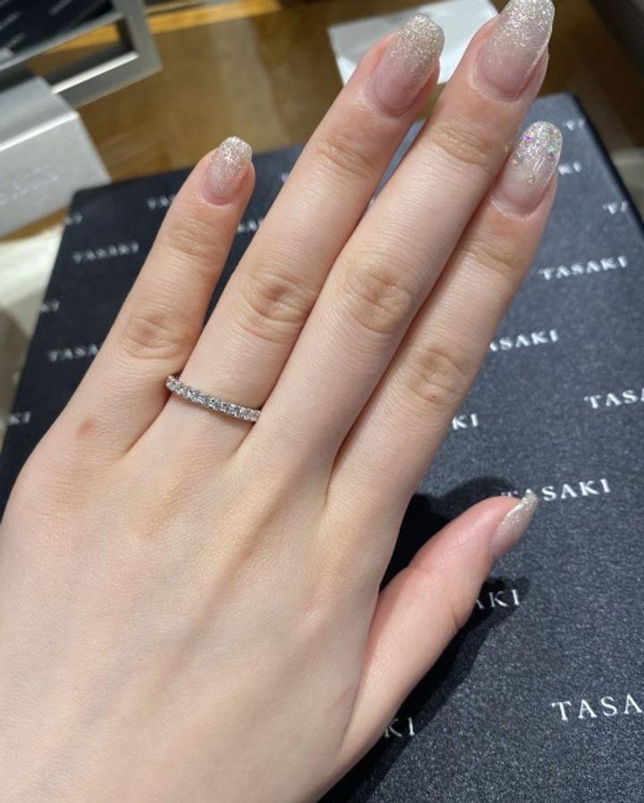 【TASAKI(タサキ)の口コミ】 ダイヤモンドがとてもキラキラ輝いていて驚きました。試着してみたら、リ…