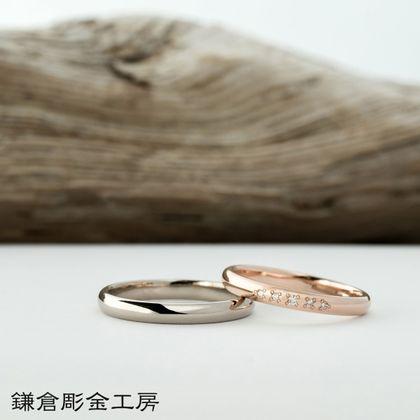 【鎌倉彫金工房(かまくらちょうきんこうぼう)】【ふたりでつくる結婚指輪】メンズK18WG&レディースK18PG(クリア仕上げ)