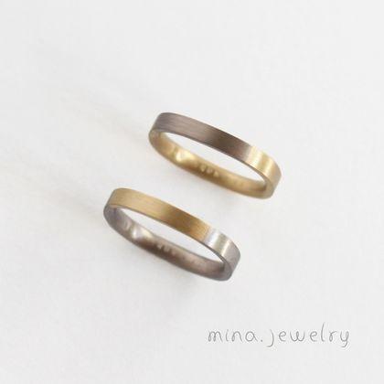 【mina.jewelry(ミナジュエリー)】2色のシンプルなマリッジリング