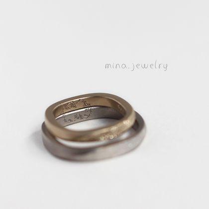 【mina.jewelry(ミナジュエリー)】ミモザの描かれたマリッジリング