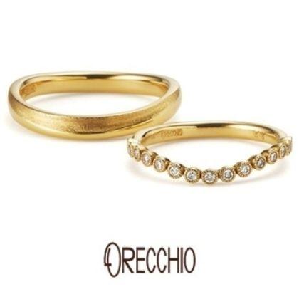 【ORECCHIO(オレッキオ)】<siena~シエナ>SM-1118/SM-1119 ダイヤモンドを包み込むミル打ちと緩やかなカーブが愛らしい結婚指輪