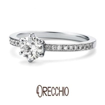 【ORECCHIO(オレッキオ)】<pipi~ピピ>PE-1402 婚約指輪 細いアームにメレダイヤを並べてシンプルなデザインも華やかに