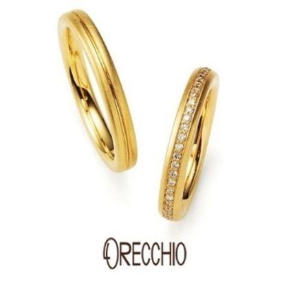 【ORECCHIO(オレッキオ)】<aman~アマン>AM-2311/AM-2312 マットゴールドの独特な風合いがオシャレなエタニ+B57ティタイプの結婚指輪/