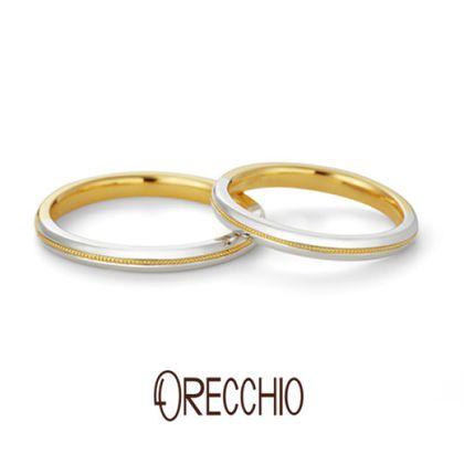 【ORECCHIO(オレッキオ)】レガート~legato プラチナのアームに走るイエローゴールドのミル打ちがポイント