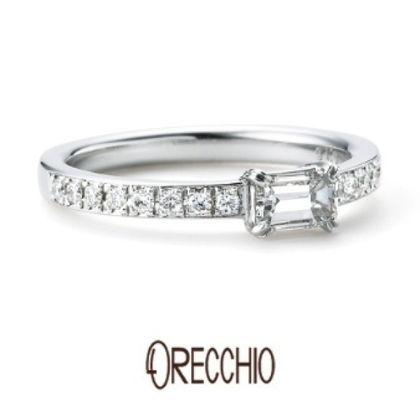 【ORECCHIO(オレッキオ)】<siena~シエナ>SE-1101 エメラルドカットダイヤの透明な輝き×メレダイヤの煌びやかな輝き