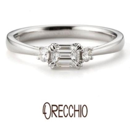 【ORECCHIO(オレッキオ)】タイム~両サイドのメレダイヤと中央に向けて絞られたデザインがシンプルな結婚指輪
