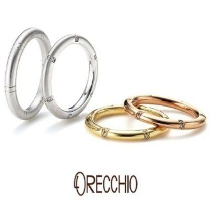 【ORECCHIO(オレッキオ)】<pipi~ピピ>PM-2409/PM-2410 等間隔に刻まれたラインとダイヤ、丸みのあるフォルムが特徴の結婚指輪