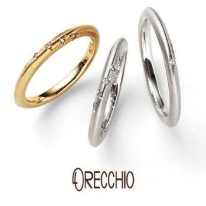 【ORECCHIO(オレッキオ)】<pipi~ピピ>PM-2413/PM-2414 流れ星のようにセッティングされたダイヤがキュートな結婚指輪