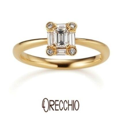 【ORECCHIO(オレッキオ)】<siena~シエナ>SE-1109 婚約指輪 エメラルドカットダイヤを形の違うダイヤが囲む個性的な指輪