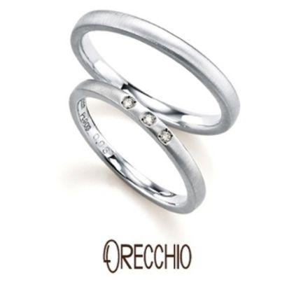【ORECCHIO(オレッキオ)】<pipi~ピピ>PM-2407/PM-2408 さりげなく光る3粒のダイヤモンドがシンプルでキュートな結婚指輪