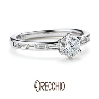 【ORECCHIO(オレッキオ)】<aman~アマン>ラウンドブリリアント×バゲットカットダイヤ二つの輝きが美しい婚約指輪