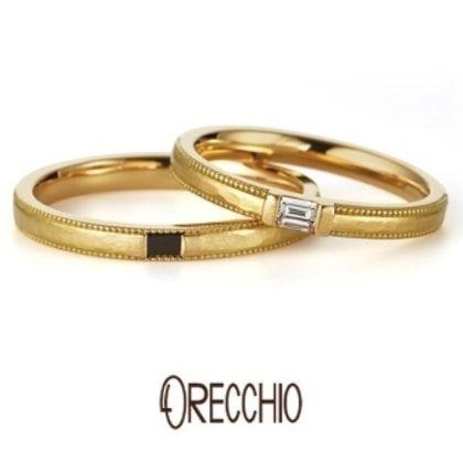 【ORECCHIO(オレッキオ)】ドルチェ ~エメラルドカットダイヤを使用したアンティーク風デザインの結婚指輪