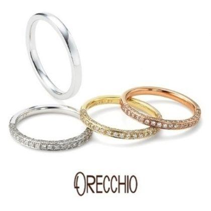 【ORECCHIO(オレッキオ)】<pipi~ピピ>PM-2401/PM2402 細身のデザインの3面全てにダイヤを散りばめエタニティータイプの指輪
