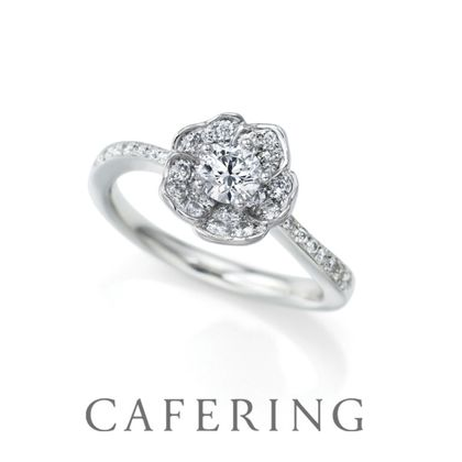 【CAFERING(カフェリング)】White Rose パヴェ ナチュラルで可憐なバラ