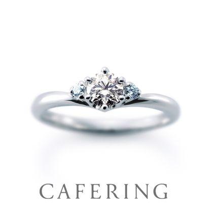【CAFERING(カフェリング)】Cheri duo 愛を繋ぐ(アイスブルーダイヤモンド)