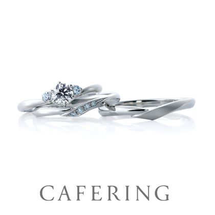 【CAFERING(カフェリング)】Cheri duo & Cheri 愛を繋ぐ(アイスブルーダイヤモンド)
