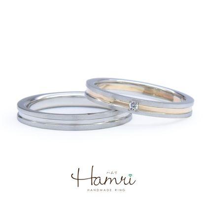 【Hamri(ハムリ)】シンプルなコンビネーションの手作り結婚指輪
