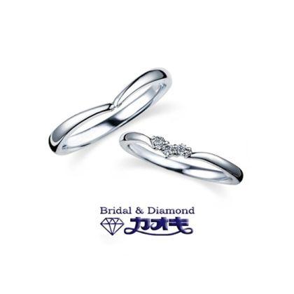 【カオキ ダイヤモンド専門卸直営店】ちょこっとVの華奢で可愛いマリッジリング
