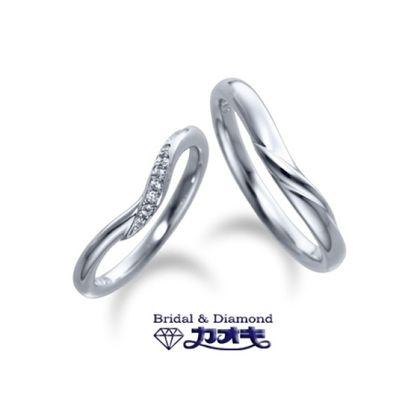 【カオキ ダイヤモンド専門卸直営店】柔らかでしっかりとしたラインの入ったV字デザイン【セージ】~家族愛~