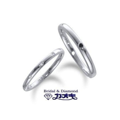 【カオキ ダイヤモンド専門卸直営店】細身のリングにさりげないダイヤが可愛い【キャッスル】