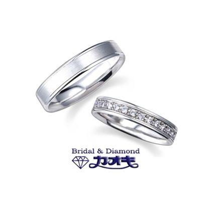 【カオキ ダイヤモンド専門卸直営店】男性に人気のシンプルでしっかりしたリング。女性はダイヤをプラスしてエレガントに☆